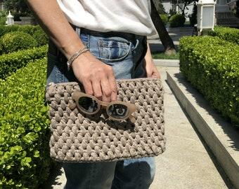 Stone Grey Crochet Clutch, Macrame Hand Bag, Bohemian Clutch, Hand Made Purse with Beads