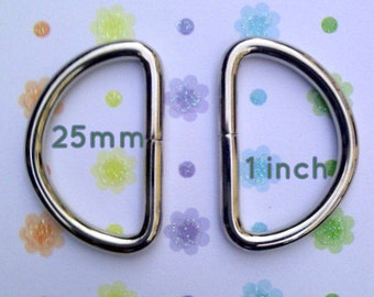 D Rings 40 Pieces Unwelded D rings - 1 inch / 25 mm for bags and other sewing projects (available in nickel and antique brass finish)