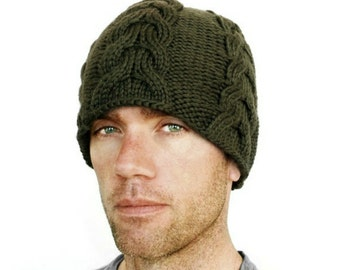 Mens Chunky Beanie Merino Wool Hat Cable Cables Mans Womens Thick Winter Green Henry Hat Olive Hand Knit M/L L/XL Gift Wrapped
