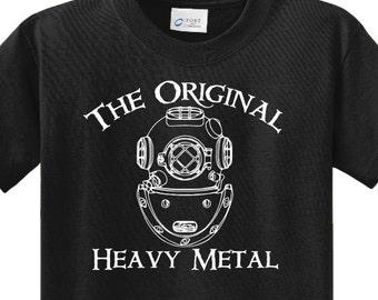 The ORIGINAL HEAVY METAL™ Diver T Shirt with Navy MkV Dive Helmet for the Scuba Diver, Commercial Salvage Diver, Navy Diver, Deep Sea Diver