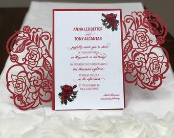 Plus de couleurs - Rose Laser Cut mariage Invitations poche faire-part Die coupe Laser coupe marine Blush ivoire or Laser Cut mariage Floral