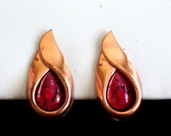 Matisse SARI Earrings, Vintage Matisse Copper Red Enamel Sari Clip Earrings, Matisse Jewellery, MCM Earrings, Vintage Copper Enamel Jewelry