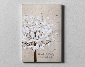 SALE 50% Off Canvas Guest Book, Winter Snow Tree Wedding Guest Book, Tree Guest Book Alternative, Wedding Home Decor Gift Keepsake - GB29