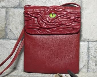 Kleines Kreuz Körper Handtasche Tasche Monster Gesicht rotes Leder 438