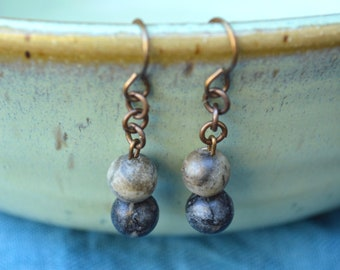 Natural Copper and Stone Dangle Earrings