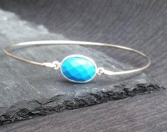 Natural Turquoise Gemstone & Sterling Silver Bangle Bracelet | Turquoise Jewelry, December Birthday Gift, December Birthstone Bangle