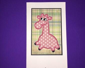 Applique Giraffe Birthday Card