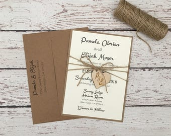 Rustic wedding invitation,wooden heart wedding invitation, kraft wedding invitation,twine wedding invitation, rustic elegant invitation