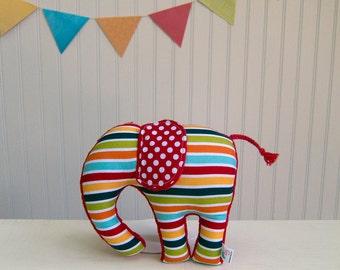Plush Elephant Multi Color Stripes Nursery Decor Red Blue Orange Green