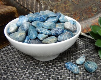 Blue Apatite - Tumbled Natural Raw Stones - Craft Supply - Brazilian Nature - Choose 1, 5, 10 or 25 stones (TS-61)