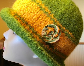 Olive Grove 100% wool felted hat with one of a kind polymer clay Mokume Gane ornament