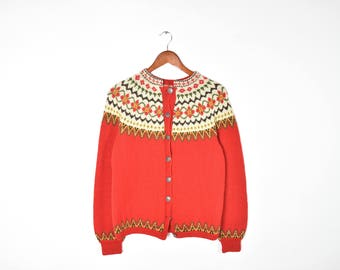 Vintage Long Sleeve Red Button Down Cardigan Sweater