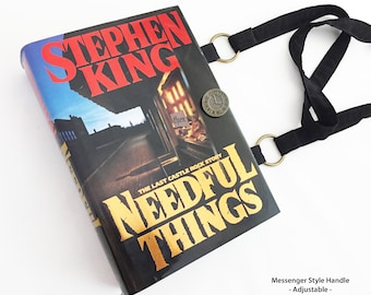 Needful Things Recycled Book Purse - Stephen King Repurposed Book Cover Bag - Horror Genre Book Cover Handbag - Purse made from a book