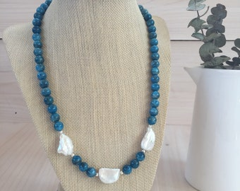Blue Apatite and White Pearl Necklace