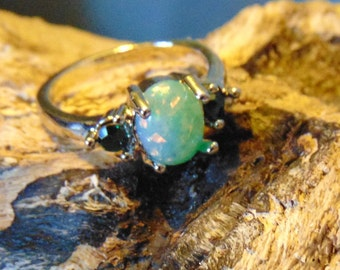 Vintage Jade and Fire Opal Ring set in Sterling Silver