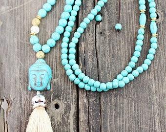 Bohemian Turquoise Stone Buddha Tassel Boho Necklace