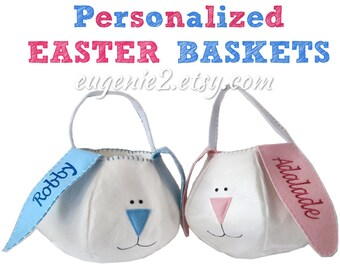 Personalized Easter Basket BLUE or PINK Easter Bunny for Boys or Baby Girls Monogrammed with Embroidered Name Easter Egg Basket Bucket Kids