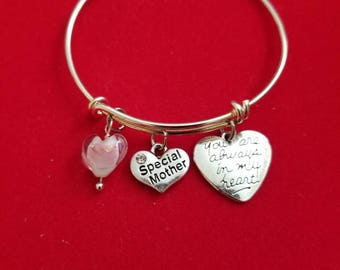 Silver Mother Glass Heart Charm Bracelet