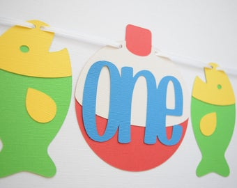 ONE Highchair Banner, Birthday Banner, Fishing Party Decor, Fishing Birthday Banner, 1st Birthday Decor, Fishing 1st Birthday