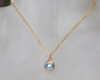 Light Blue Necklace , Bridesmaid Necklace , Powder Blue Necklace , Swarovski Pearl Necklace