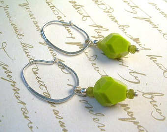 Picasso Bead And Sterling Silver Long Dangle Drop Earrings, Wasabi Green