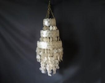 Vintage Minimalist Tiered Layered Capiz Shell Chandelier Pendant