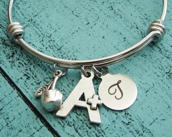 personalized teacher gift jewelry, teacher appreciation gift, teacher gift, teacher bracelet, gift for teacher, thank you gift for teacher