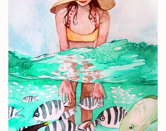 Tropical Fish and Girl Swimming Watercolor - Painting Print