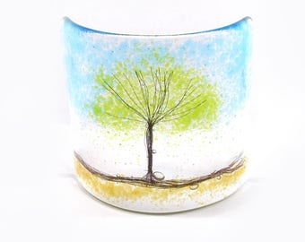 Green Tree Fused Glass Curve, Glass Art, Gift, free standing, tree, fused glass tree, glass gift