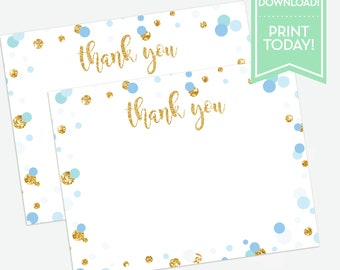 Blue Confetti Party Printable Thank You Card / Thank You Notes / Birthday / Baptism / Baby Shower / Any Occasion / LR2015
