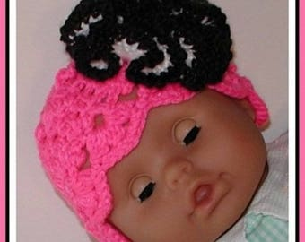 Neon Pink Baby Hat, Neon Pink Hat, Hot Pink And Black Hat, Hot Pink And Black Baby Girls Hat, Pink Hat With Big Flower, Black White Flower