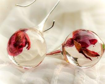 Pink Rose Earrings. Natural Earrings. Drop Earrings. Real Flowers Earrings. Resin earrings. Ball earrings. Natural earrings dangling