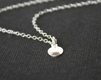 Sparkling Disk Necklace Sterling Silver - simple everyday wear necklace, short necklace, birthday, Christmas gift ideas, Mothers day gifts