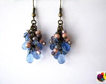 blue drop bronze dangle cluster earring