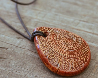 Autumn Brown Teardrop Mandala Essential Oil Diffuser Necklace, Ceramic Aromatherapy Pendant, Wholesale and Bulk Diffuser Jewelry