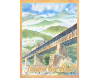 Travel by Rail Vermont Travel Poster