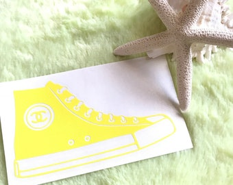 Chanel Hi-Top Decal OR Iron-On/fashion/car window/laptop/T-shirts/gym/cup/school/make up pouch/