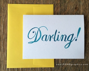 DARLING -- Watercolor Notecards, Hand Lettering