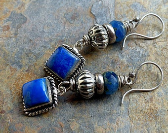 Blue & Silver Earrings/Lapis Squares in Rope Silver/Blue Czech Glass Beads/Tribal Silver . Rustic Southwest Boho Tribal Style Jewelry