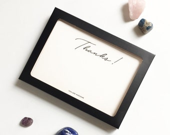 Thank You Note Cards Set of 8, Black foil Thanks Flat note cards with envelopes