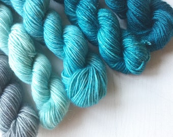 Blue Faced Leicester Sock minis. Blue and grey minis on our Impudent Sock base