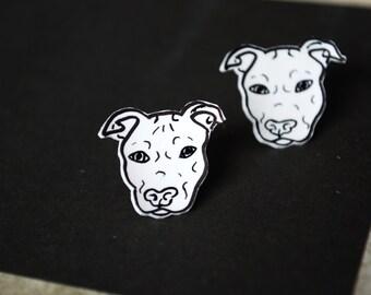 Dog Earrings -- Dog Studs, Pit Bull Earrings, Boxer