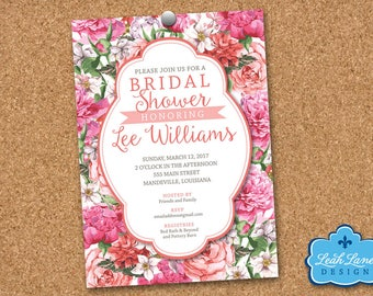 Pink Bridal Shower Invitation, Wedding Shower Invitation, Floral, Pink Flowers, Pink Roses, Personalized PRINTABLE Invitation, Digital File