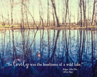 Edgar Allan Poe Art Quote, Lite, So Lovely was the Loneliness, Literary Art, Poe Wall Art, Nature Photo, Large Wall Art, Fine Art Print