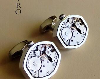 Steampunk cufflinks - 316L stainless steel steampunk cufflinks - steampunk jewelry - mens steampunk - mens accessories