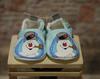 Frosty the Snowman Blue Baby Shoes, Booties, Crib Shoes, 12-24 months