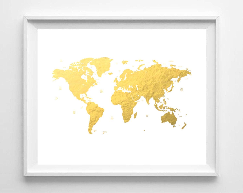 Printable World Map Print Gold Foil Map Print Nursery Art