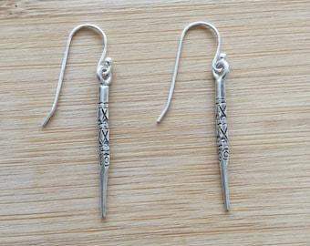 Karen Hill Tribe Silver Spike Earrings, Silver Dangle Earrings, Hill Tribe Jewelry, Simple Spike Earrings, Hill Tribe Silver Earrings