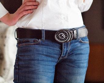 Belt Buckle for Women Mosaic Belt Buckle Women's Belt Black & White Belt Buckle Leather Belt for Women Gift for Her Gift for Best Friend