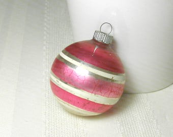 RARE Pink Shiny Brite Striped Vintage Ornament Retro 1950s Christmas Ball Decoration Silver Pink White Magenta Hot Pink Nice Patina